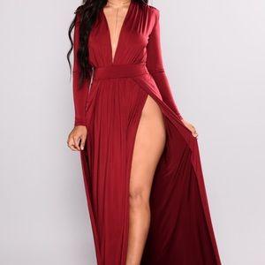 Fashion Nova Double Slit Burgundy Dress